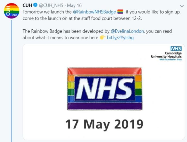 The Cambridge University Hospitals Trust tweeted out to announce the launch of its Rainbow NHS Badge scheme. (@CUH_NHS/Twitter)