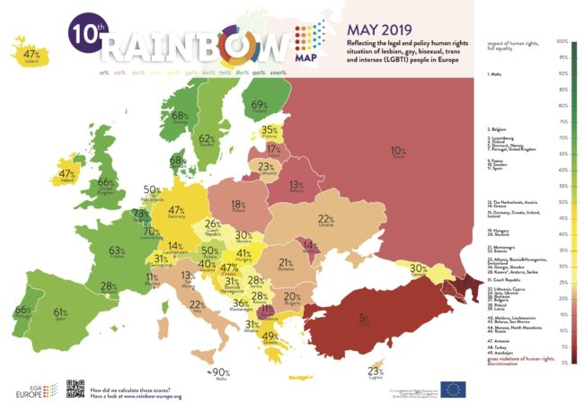 The 10th Rainbow Map of LGBT rights in Europe by ILGA-Europe.