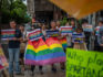 LGBT rights protesters demonstrate outside a parliamentary administration building where politicians are continuing to discuss same-sex marriage bills ahead of a vote on Friday, on May 16, 2019 in Taipei, Taiwan. (Carl Court/Getty Images)