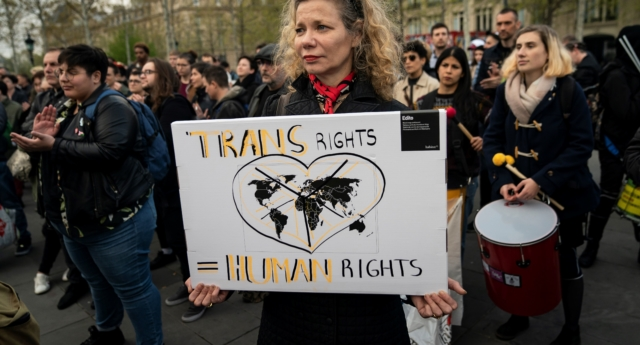 People attend a demonstration to support transgender and intersex rights in Paris (LIONEL BONAVENTURE/AFP/Getty Images)