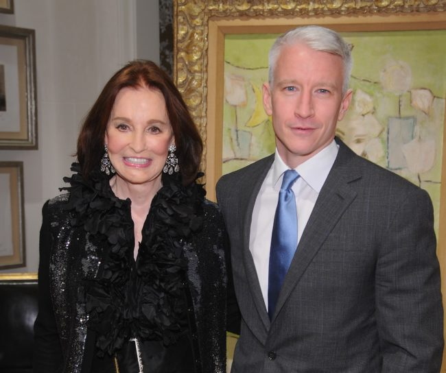 Gloria Vanderbilt and Anderson Cooper attend the launch party for The World Of Gloria Vanderbilt at the Ralph Lauren Women's Boutique on November 4, 2010 in New York City