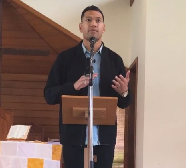 Israel Folau targets LGBT+ people again in the video uploaded to Facebook by an evangelical church