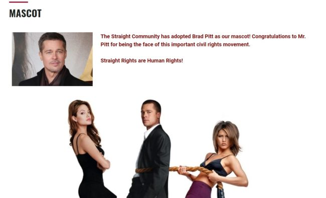 The group named actor Brad Pitt as their 'mascot' for the Straight Pride march