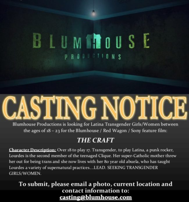 'The casting notice for The Craft is looking for a trans, Latina actor to take on the lead role of Lourdes. (Blumhouse Productions)