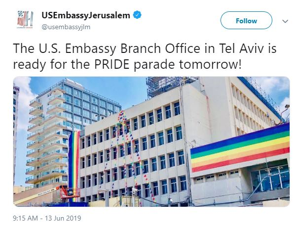The US embassy in Jerusalem tweeted the photo of rainbow flags
