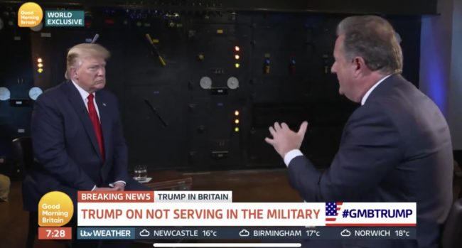 Donald Trump struggled to defend the trans military ban in an interview with Good Morning Britain