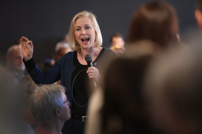 Senator Kirsten Gillibrand (D-NY) speaks to guests during a campaign stop on March 19, 2019 in Dubuque, Iowa.