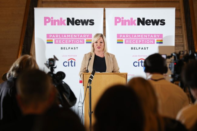 Michelle O'Neill speaks to a crowd