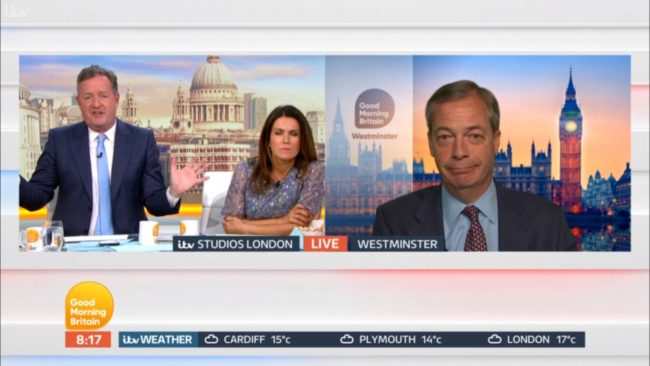 Brexit Party leader Nigel Farage defended Ann Widdecombe's comments on Good Morning Britain