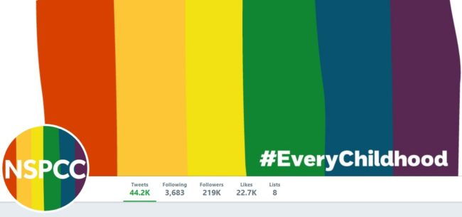 NSPCC, who run Childline,, have adopted rainbow colours on its social media for Pride month. (@nspcc/Twitter)
