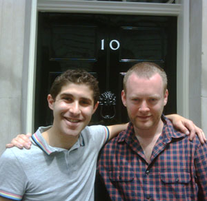 PinkNews.co.uk publisher Benjamin Cohen and Attitude editor Matthew Todd outside Number 10