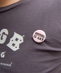 "The lynchpin of the campaign is hundreds of pink badges bearing the satirical slogan ""Homophobia is Gay"""