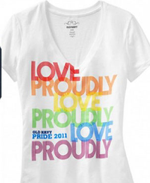 One of the Gay Pride t-shirts being sold at Old Navy