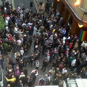 The view of the protest from the window of FT correspondent Sam Jones