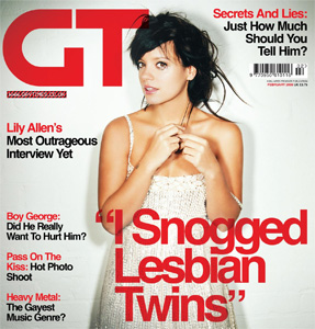Lily Allen on the cover of GT Magazine with the headline 'I snogged lesbian twins'