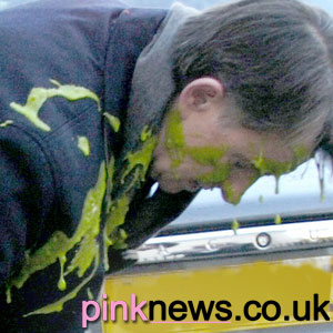 Peter Mandelson was attacked with green gunge (photo:PlaneStupid)