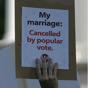 Proposition 8 bans same-sex couples from marrying in the state of California