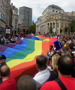 This year's Pride parade will have commercial sponsors with links to LGBT groups and charities.