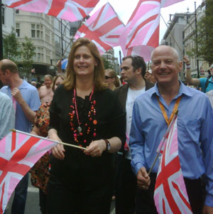 Sarah Brown marches with gay MEP Michael Cashman