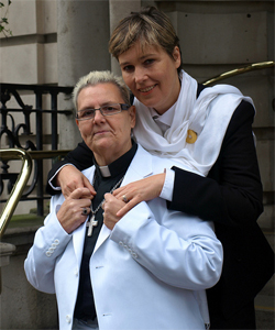 Rev Sharon Ferguson and Franka Strietzel are among the couples challenging the ban on gay marriage (Photo: Chris Houston)