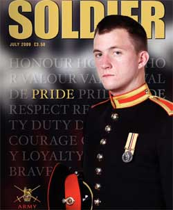 Gay Trooper James Wharton on the cover of Soldier