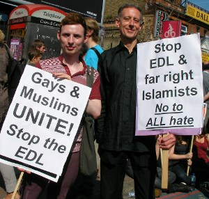 Peter Tatchell and Ashley McAlister at the demo
