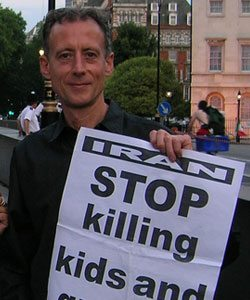 "Peter Tatchell urged the gay community to show ""solidarity with all the victims of the murderous Iranian regime"""