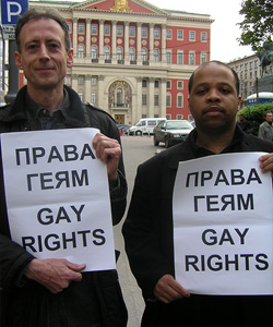 Moscow Pride, 27 May 2006 - Outside Mayor Yuri Luzhkov's office in City Hall. Human rights campaigner Peter Tatchell with Louis-Georges Tin, coordinator of the International Gay Against Homophobia. Russian text: Rights for gays [Photo: Andy Harley/UK Gay News]