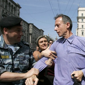 Peter Tatchell is arrested at a previous march in Moscow