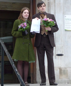 Tom Freeman and Katherine Doyle were turned away from Islington registry office when they tried to have a civil partnership