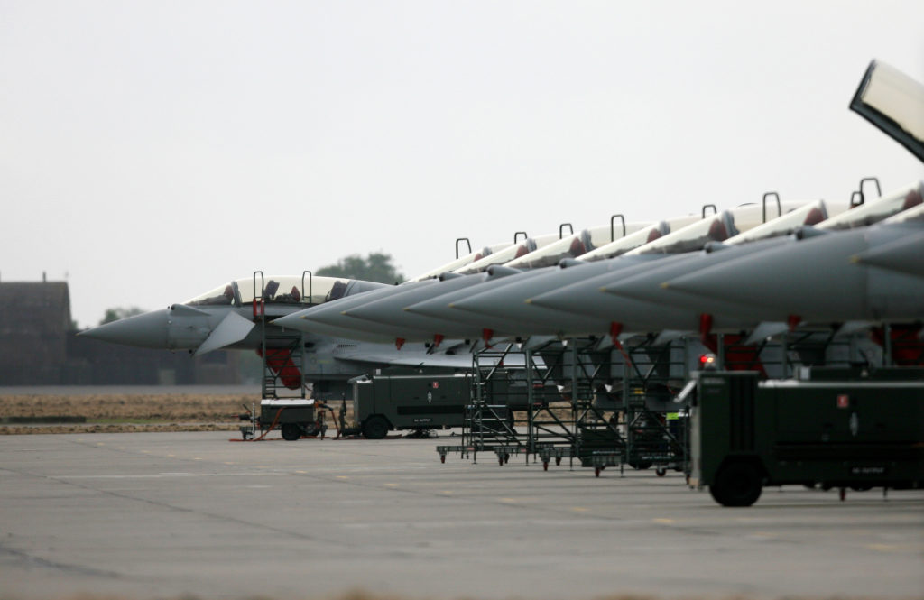 Eurofighter Typhoon aircraft, produced by British arms manufacturer BAE Systems, are pictured at RAF Coningsby in Lincolnshire north east England, on April 27, 2011.