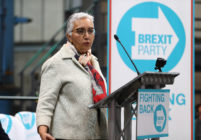 Dr Alka Sehgal Cuthbert speaks at the launch of the Brexit Party on April 12, 2019 in Coventry, England.
