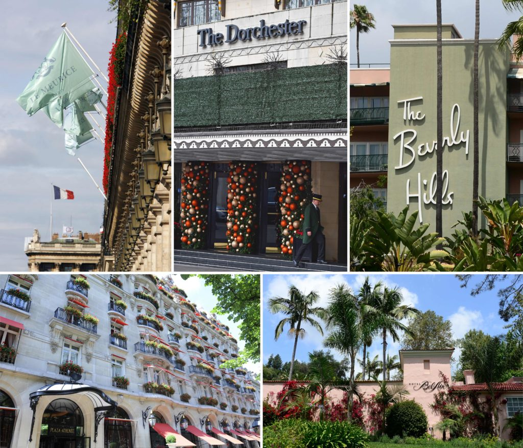 Brunei hotels boycott: Five of the nine Dorchester Collection hotels owned by Brunei: (top L-R) Hotel Meurice in Paris, The Dorchester in London, The Beverly Hills Hotel in Los Angeles, (bottom L-R) The Hotel Plaza Athenee in Paris and The Hotel Bel-Air in Los Angeles.