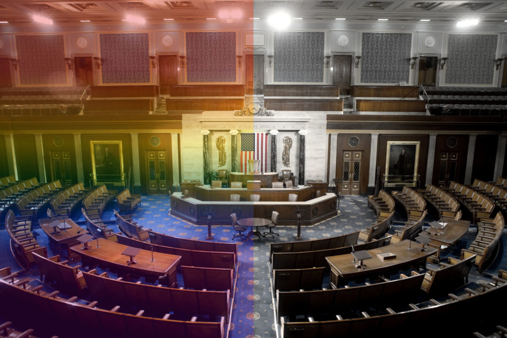 The US House of Representatives chamber is seen in Washington, DC.