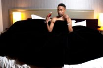 Picture of Billy Porter in tuxedo gown worn at Oscars.