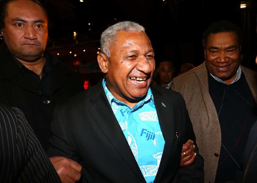 Frank Bainimarama speaks to Fiji First Party supporters as he leaves the Fiji Festival in 2014