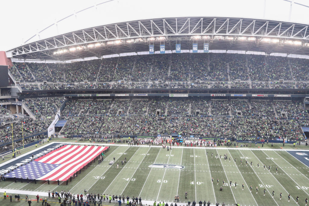 A picture of the CenturyLink Field on December 30, 2018 in Seattle, Washington, the location where the alleged hate crime took place.