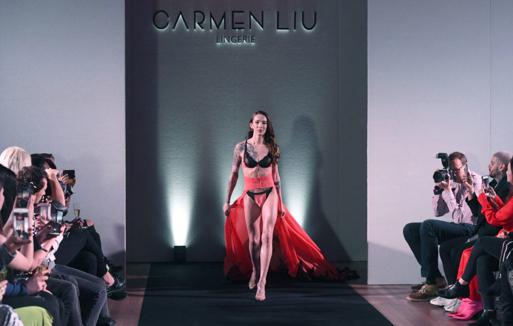 Carmen Liu walks the runway during the launch of the World's First Transgender Lingerie Brand 'GI Collection' at Glaziers Hall on February 28, 2019 in London, England.