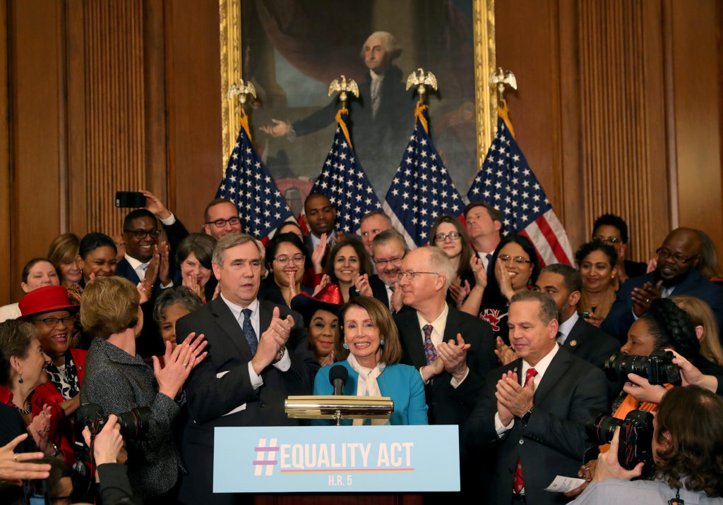 House Speaker Nancy Pelosi speaks during a news conference where House and Senate Democrats introduced the Equality Act of 2019 which would ban discrimination against lesbian, gay, bisexual and transgender people, on March 13, 2019 in Washington, DC.