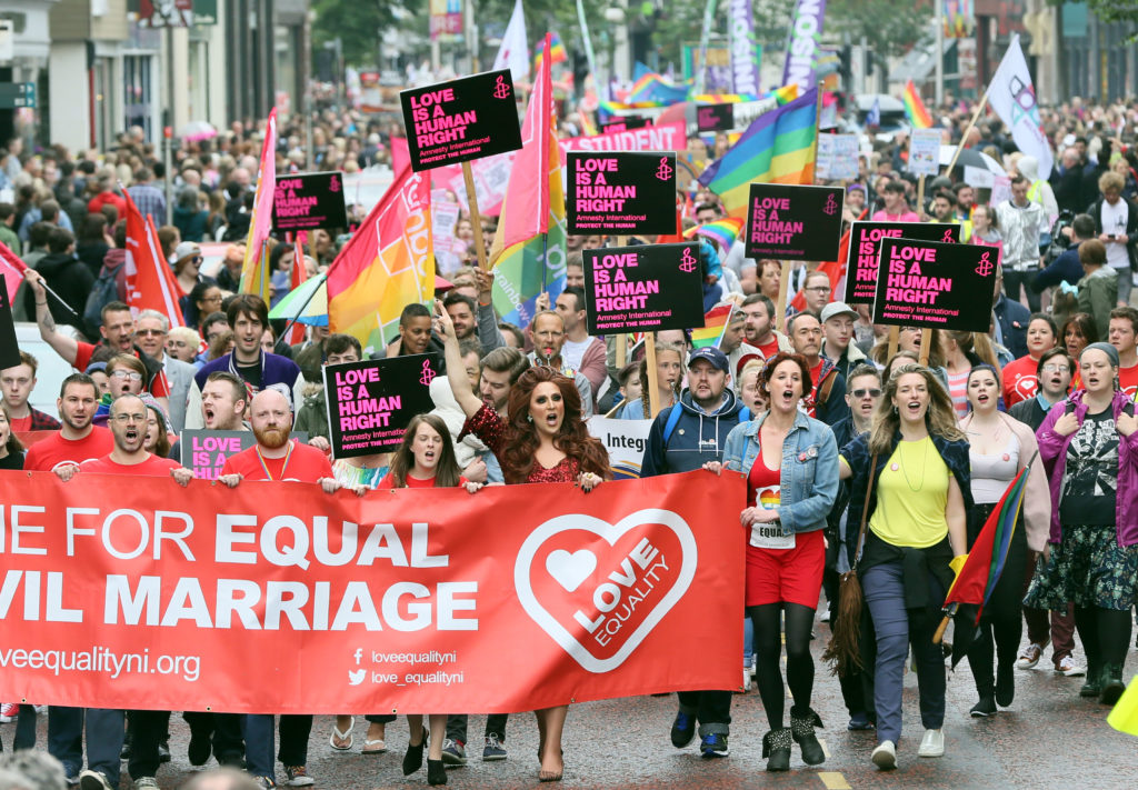 Recent surveys show majority of people in Northern Ireland supports same-sex marriage.