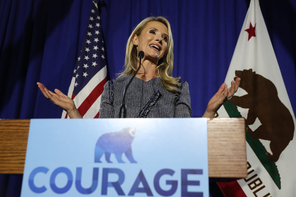 Jennifer Siebel Newsom, who has adopted the title of 'first aprtner' in a bid for equality, speaks at her husband's Gavin Newsom primary election night gathering on June 5, 2018 in San Francisco, California.