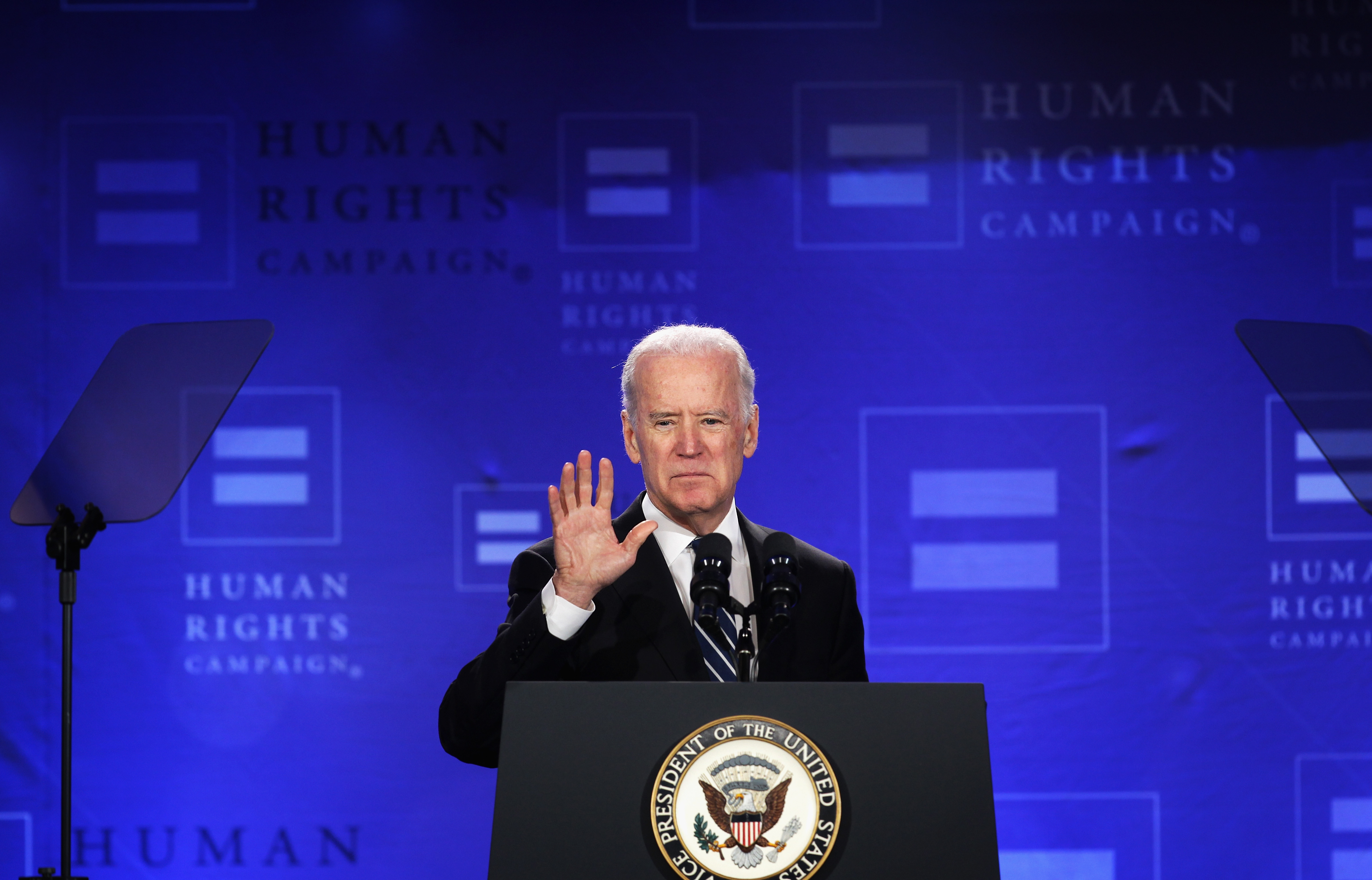 US Vice President Joseph Biden addresses the Spring Equality Convention of Human Rights Campaign (HRC) March 6, 2015 in Washington, DC.