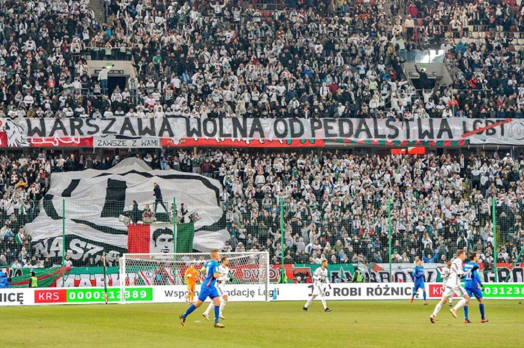 The banner displayed by Legia Warsaw fans at its Polish Army stadium