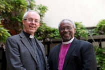 Archbishop of Canterbury Justin Welby with American bishop Michael Curry at St George's Chapel, Windsor, ahead of the royal wedding of Prince Harry and Meghan Markle on May 18, 2018 in Windsor, England.