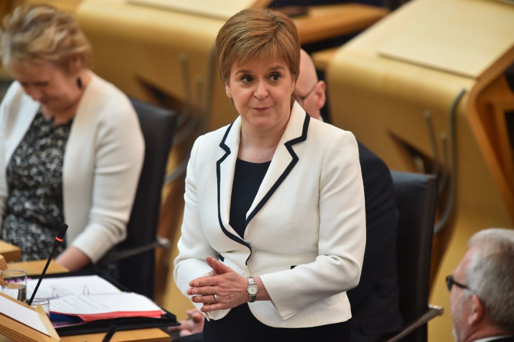Scotland's First Minister Nicola Sturgeon makes a statement to the Scottish Parliament