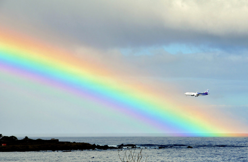 US airlines: File photo. A plane is seen next to a rainbow