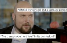"A screenshot of Minecraft creator Markus ""Notch"" Persson with tweets overlaid."