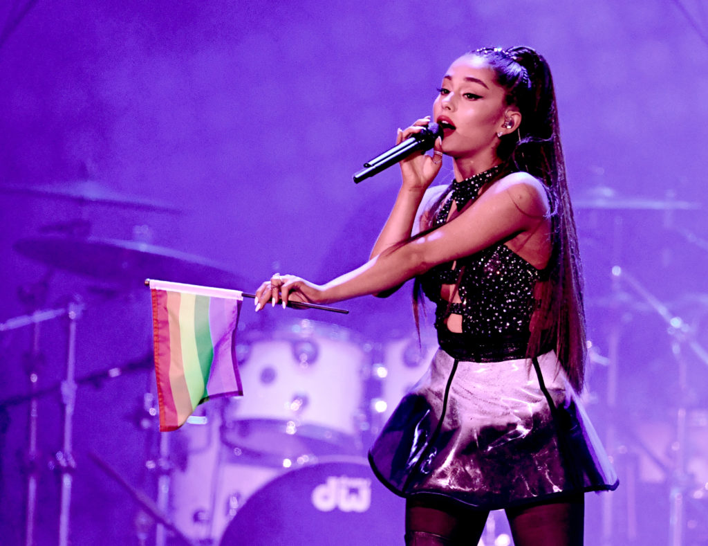 Ariana Grande performs onstage during the 2018 iHeartRadio by AT&T at Banc of California Stadium on June 2, 2018 in Los Angeles, California before performing at Manchester Pride.