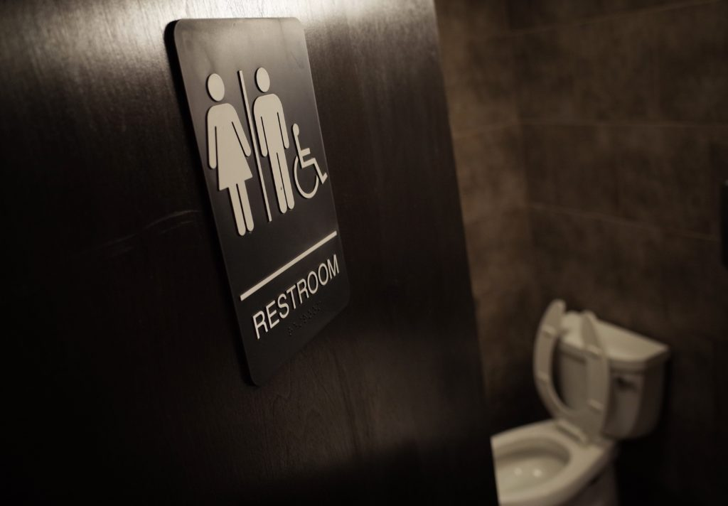 A gender neutral bathroom is seen at a coffee shop in Washington, DC, on May 5, 2016.