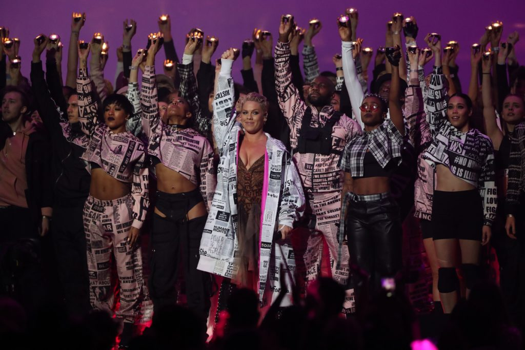 US singer-songwriter Pink (C) performs during the BRIT Awards 2019 ceremony and live show in London on February 20, 2019.